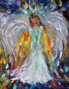 Original painting ANGEL abstract modern by Karensfineart on Etsy, $125.00