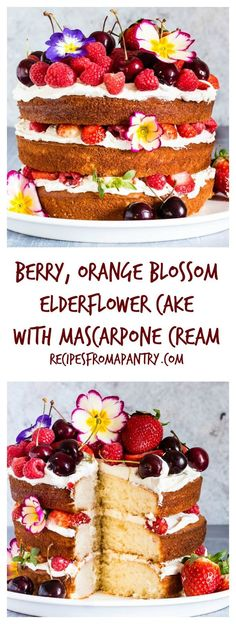 This berry, orange blossom and elderflower cake with mascarpone whipped cream is the best cake recipe ever and yields stunning results | http://recipesfromapantry.com
