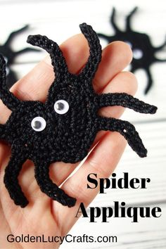 Learn how to crochet this cute heart-shaped Spider applique! Free crochet pattern, Halloween decor. Crochet Bee, Learn To Crochet, Cute Crochet, Crochet Motif, Beautiful Crochet, Crochet Crafts, Crochet Projects, Crochet Appliques, Crochet Patterns For Beginners
