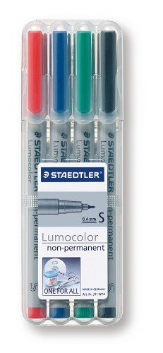 Amazon.com: Staedtler Lumocolor Non-Permanent Overhead Projection Markers assorted colors superfine 0.4 mm set of 4: Office Products WET ERASE