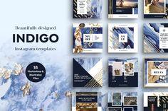 Indigo blue Watercolor Templates for Instagram on Creative Market.
