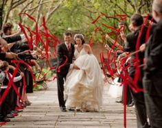 This is how you do ribbon wands. Great contrast and bold color. I love ribbon wands. Wedding Send Off, Wedding Exits, Red Wedding, Perfect Wedding, Wedding Ceremony, Wedding Photos, Wedding Day, Wedding Stuff, Wedding Unique