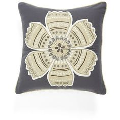 Levtex 'Parma' Embroidered Pillow ($39) ❤ liked on Polyvore featuring home, home decor, throw pillows, pillows, grey, gray throw pillows, floral home decor, embellished throw pillows, floral throw pillows と gray home decor