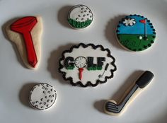 My individual golf cookies. Golf Cookies, Iced Cookies, Sugar Cookies, Golf Party Foods, Cookie Cake Pie, Golf Art, Cake Board, Cookie Decorating, Fathers Day