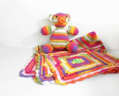 Crochet Baby Blanket and Stuffed Teddy Bear by SasasHandcrafts
