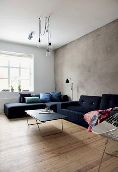 Love the raw plastered wall and real wood floors in this living room in Oslo. From the Behomm home exchange for creative professionals, Oslo home of graphic designer ©Yvonne Wilhelmsen Home Living Room, Living Room Decor, Living Spaces, Home Design Decor, House Design, Interior Design, Home Decor, Salons Cosy, Home Exchange