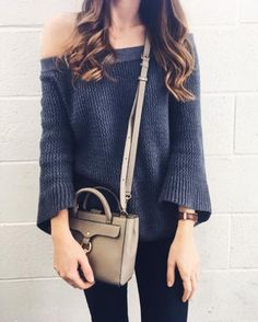 Bell-sleeve off-shoulder sweater. Off shoulder sweater outfit. Spring  sweater. 583bd01cf