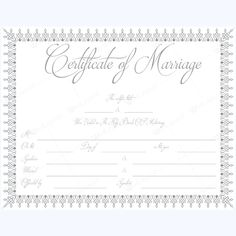 Fake Floral Corner Marriage Certificate Template  Printable