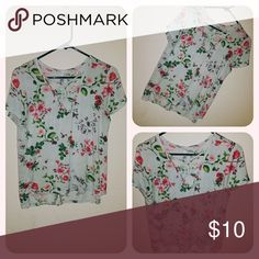Floral Print Shirt Super cute floral shirt. Worn a couple of times! Large but can fit medium. Soft material! Tops