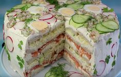 Festliche Sandwichtorte Festive sandwiches, a great recipe from the cheese category. Party Finger Foods, Party Snacks, Sandwich Torte, Good Food, Yummy Food, Party Buffet, Wrap Sandwiches, High Tea, Food Design