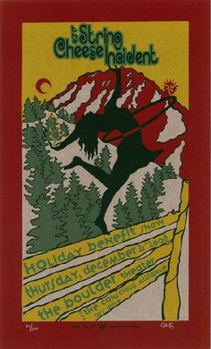 Original silkscreen concert poster for String Cheese Incident benefit in Boulder, CO in 2006. 10 x 16.5 inches on card stock.  Art by Jambone Creative. Signed and numbered limited edition of only 130.