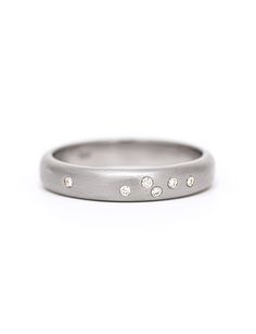 A celebratory sprinkling of diamonds in a brushed white gold band, handmade by Amy Renshaw. Shop Australian designed jewellery and engagement rings. White Gold Wedding Rings, Diamond Wedding Rings, Wedding Confetti, Gold Bands, White Gold Diamonds, Jewelry Design, Engagement Rings, Melbourne, Amy