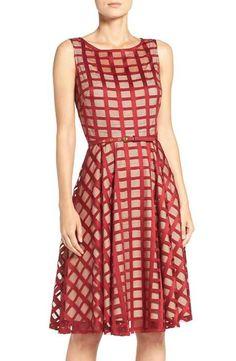 Gabby Skye Grid Lace Midi Dress