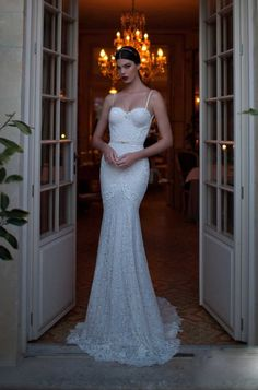 wedding dresses lace mermaid with thin straps - Google Search