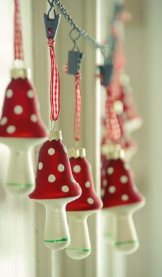 Tarja's Snowland / glass mushrooms / christmas decoration