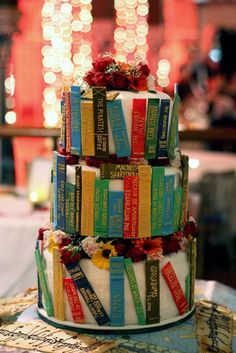 This is the cake! Library cake. Will do all the book spines well in advance, then just stick them on at the last minute.