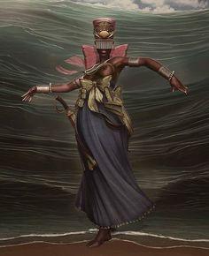 Queen of Pentacles Black Girl Art, Black Art, Art Girl, Oya Goddess, Mother Goddess, Yemaya Orisha, African Mythology, Yoruba Religion, Cuban Art