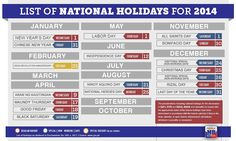 Are you enivisioning this year as your Year of Travel? The good folks at Manila Bulletin have produced this simple infographic showing the 2014 National Holidays in the Philippines. List Of National Holidays, Philippine Holidays, Philippines Culture, Philippine News, All Saints Day, Holiday List, Independence Day, Good To Know, Announcement