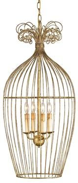 Gilded Cage Lantern Gold Leaf Wrough Iron Maximum 60 Watts with 4 Lights