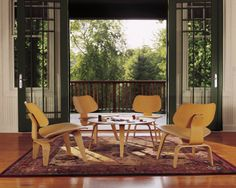 Herman Miller Molded Plywood Eames chairs and coffee table