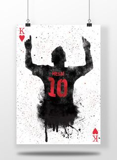 Lionel Messi King Of Hearts Silhouette fc Barcelona La
