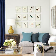 This set of 12 bird prints by OKA offers the perfect way to instantly create a feature wall in your home.