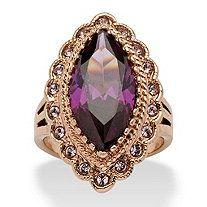 7.94 TCW Marquise-Cut Purple Cubic Zirconia Cocktail Ring in Rose Gold Ion-Plated