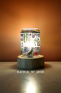 #Colorful #lamp by #kawa_w_lesie #home_decor #decor #home_ideas #diy_lamp #jar_lamp #jar_diy #buy_me #pattern #water_paints #design #eco #upcycling #handmade #gift #unique_gift #manufacture #made_in_poland #etsy #jar #for_home #diy #art #wośp #charity #auction #sale #jar_ideas #warszawskie_słoiki #wood_diy #wood