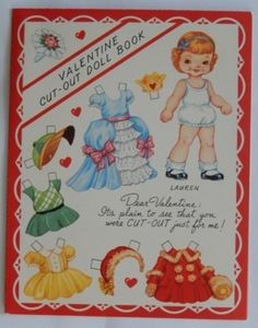 """Valentine Cut-Out Doll Book"""" 4 Paper Dolls, 1950's, Uncut & Unused, EX, NR (06/23/2013)"""