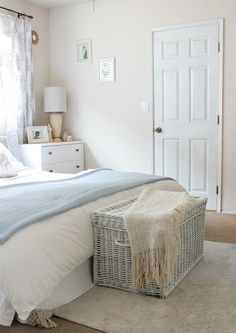 Master Bedroom Makeover with neutral tones; white, beige and light blue. DIY painted Ikea furniture and more on a budget. Rustic Master Bedroom, Bedroom Makeover, Master Bedrooms Decor, Bedroom Decor, Bedroom Decor On A Budget, Diy Home Decor, Simple Bedroom, Master Bedroom Makeover, Home Decor