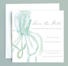 Beach Wedding Nautical Octopus Save the Date by Leveret Paperie