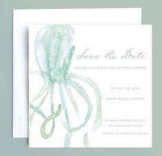 Beach Wedding Nautical Octopus Save the Date
