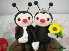Red Wing Ladybug Love Wedding Cake Topper HAND HOLD by Garden4Arts, $75.00