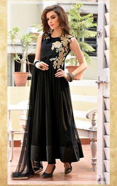 Picture of Divine Black  Ready Made Party Wear Salwar Kameez Online