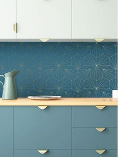 Tiles golden wallpaper from the Parisian's wall decoration brand: Papermint