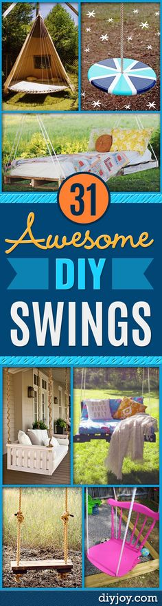 Diy Swings – Best Do It Yourself Swing Projects And Tutorials For Tire, Rocking,… – desinghandmade Backyard Swings, Backyard Seating, Backyard Playground, Backyard Ideas, Porch Ideas, Pallet Swings, Outdoor Swings, Backyard Retreat, Outdoor Fun
