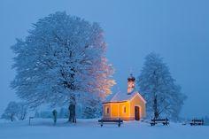 Winter wonderland in the countryside between Karwendel- and Wetterstein-mountains near Mittenwald, Bavaria