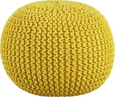 Living room - colorful and unique ottoman - knitted yellow pouf Cb2 Furniture, Office Furniture, Yellow Ottoman, Pouf Cuir, Pouf Design, Knitted Pouf, Floor Pouf, Yellow, Colors