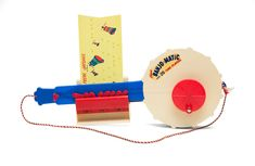 """In 1962, Kenner released a toy musical instrument called the Banjo-Matic. According to ads from the time, the toy allowed a child to """"play real banjo music."""" And by """"play"""", Kenner meant that a child could enjoy the Banjo-Matic's ability to self-play a variety of canned musical numbers.  #kenner #vintagetoys"""