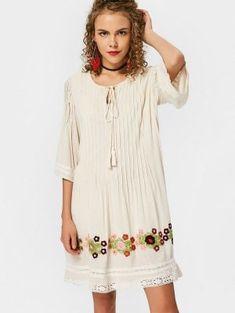 Lace Trim Tassels Embroidered Mini Dress - Palomino M