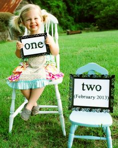 """The """"one"""" chair have blue for boy and the """"two"""" chair have pink or blue depending on the gender of the second child."""