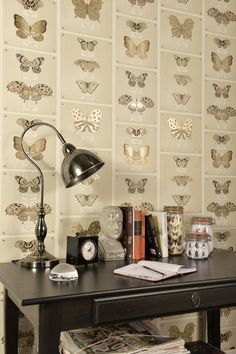 A fun and vibrant wallpaper featuring various butterflies display cases, giving a new and contemporary twist to a traditional exhibition. Butterfly Wallpaper, Print Wallpaper, Wallpaper Direct, New Wallpaper, Fabric Wallpaper, Pattern Wallpaper, Neutral Wallpaper, Brun Beige, Oak Panels