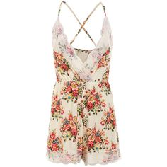 Lace Trimmed Floral Print Cami Romper ($12) ❤ liked on Polyvore featuring jumpsuits, rompers, floral print jumpsuit, playsuit romper, jump suit, vintage jumpsuit and floral jumpsuit