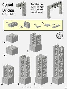 Train Lego, Lego Train Tracks, Lego Bridge, Lego Track, Lego Building, Boat Building, Building Plans, Instructions Lego, Modele Lego