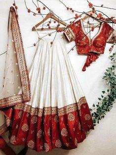 Blouse Lehenga, Red Lehenga, Ghagra Choli, Indian Lehenga, Silk Dupatta, Lehenga White, Red Wedding Lehenga, Chaniya Choli For Navratri, Indian Wedding Dresses