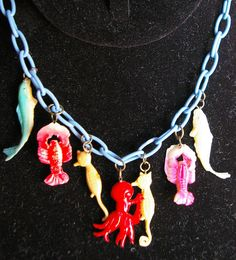 Ocean themed celluloid charm necklace