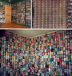 Recycled Wall. Could you make a Trombe Wall out of this by filling the cans with sand? Aluminum heats up fast and sand would retain the heat and let it out at night.