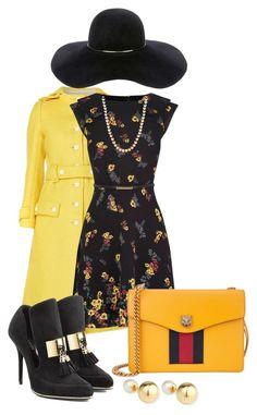 """sunshine ❤"" by muslifa ❤ liked on Polyvore featuring Balmain, Gucci, Eugenia Kim, Yoko London, Honora, Fall, yellow, floral and dress"