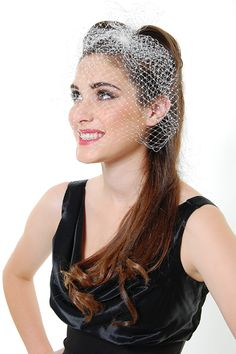Netted Ivory London Design Veil with Swarovski Crystals