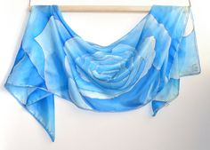 """Silk scarf  """"Blue rose"""". Handpained, batik. Hand painted women silk scarf. Scarf for woman. Head silk scarf. Gift for her"""